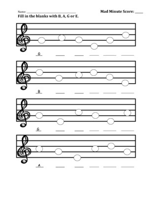 B-A-G-E Worksheet. Mad Minute Music Idea