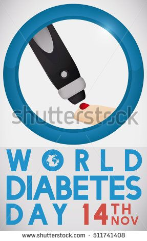 Commemorative poster for World Diabetes Day with greeting message, date, blue circle and a lancet pricking a finger, to measure sugar levels inside of it.