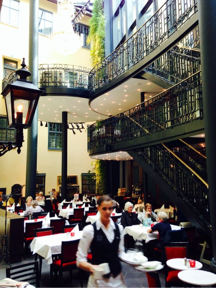 Hotel Kungsträdgården in Stockholm | #gustavian, #scandinavian #restaurant #bistro #yellow #nature #swedish #brass #toneontone. Styling Garbo Interior. Photo: Ann-Charlotte Jönsson | stiligahem.se