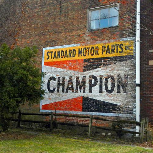 ghost sign for Champion Standard Motor Parts, Brookville, Indiana