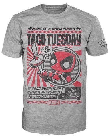 Pop! Tees: Marvel - Deadpool Taco Tuesday tee