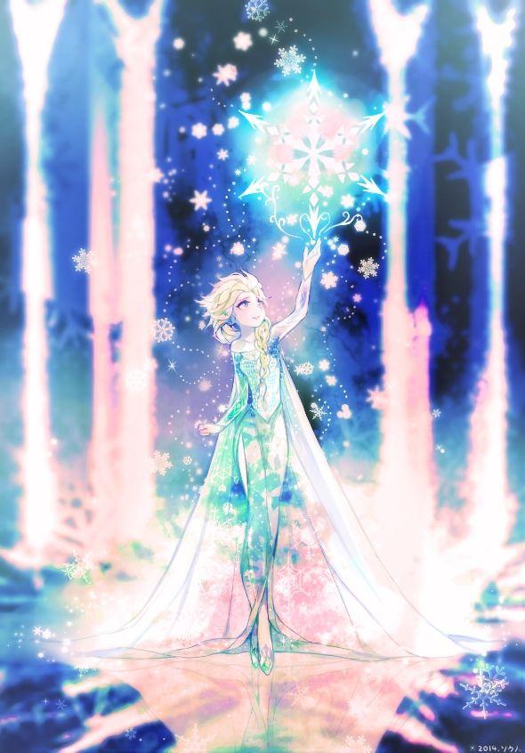 Tags: Anime, Magic, Blue Dress, Disney, Souno Kazuki, Frozen (Disney), Elsa the Snow Queen