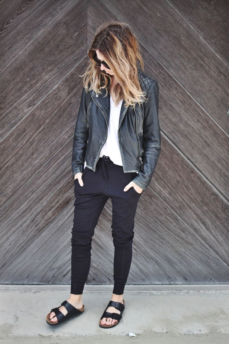 "Perfectttt casual, ""cool girl"" outfit, with obligatory, perfectly slouchy leather jacket"