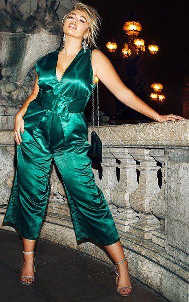 16deab736bb PrettyLittleThing satin belt culotte jumpsuit.  prettylittlething  plussize   plussizefashion