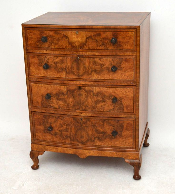Antique Burr Walnut Bow Fronted Chest of Drawers | Church Street Antiques - Antique Furniture