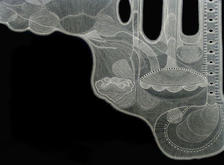 Mental Map #4   Landscapes & Mental Maps Series   Silver metallic ink on black paper   2005