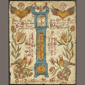 A Pennsylvania German painted Fraktur  Watercolour on paper, inscribed with a poem and: Diese Bild Gehert Maria Schäffer 1816.  10 3/4 x 8 3/4in (27.5 x 22.5cm)