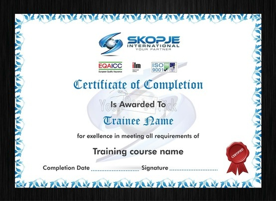 Certificate of completion design for SKOPJE from YourDesignPick
