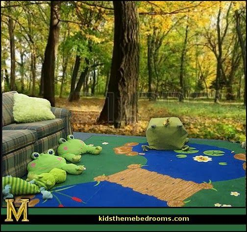 FROG POND RUG FOREST WALL MURALS Frog Theme Bedrooms