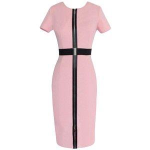 Pink Zipper Slimming Chic Womens Midi Dress With Sash