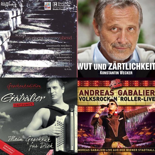 A playlist featuring Andreas Gabalier, Georg Danzer, Konstantin Wecker, and others