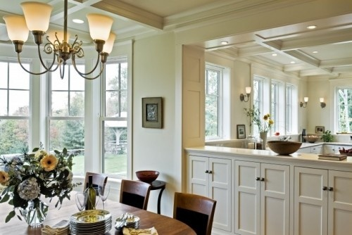 half wall storage: Living Rooms, Traditional Dining Rooms, Built In, Kitchens Dining, Dining Rooms Design, Rooms Dividers, Open Kitchens, Half Wall, Wall Design