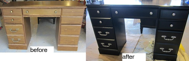 repainted desk, black gloss & hammered metal spray paint on hardware.