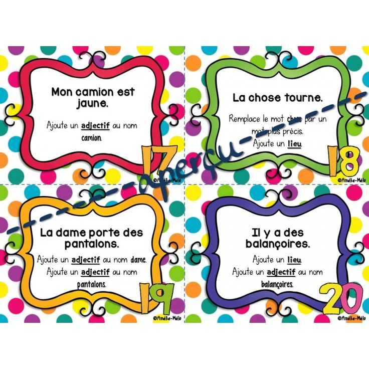 Cartes à tâches - Embellir les phrases