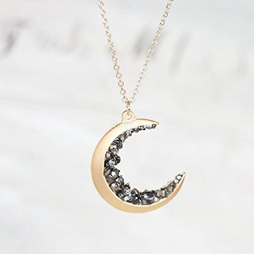 Gold Plated Crescent Moon Encrusted With Simulated Black Diamond Crystals Jewels Long Necklace
