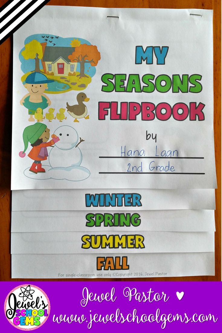 Seasons Activities ★ Four Seasons Activities ★ Seasons Flipbook ★ Seasons Flip Book    This 12-page resource consists of templates that can be used to create a flipbook on the four seasons. Students write about the weather, clothes, sights, smells, sounds, food, and activities they associate with winter, spring, summer, and fall/autumn.    Seasons Interactive Notebook   Seasons Printables