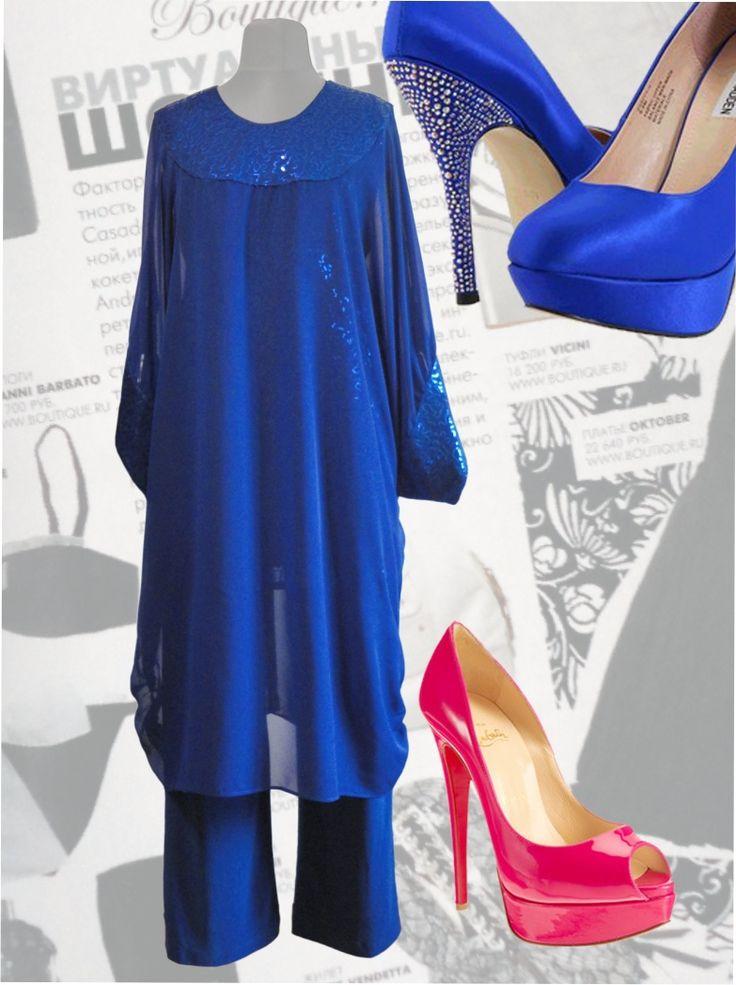 "107$ Нарядный брючный костюм для полных женщин: ""Турция-3"" Артикул 424, р50-64"