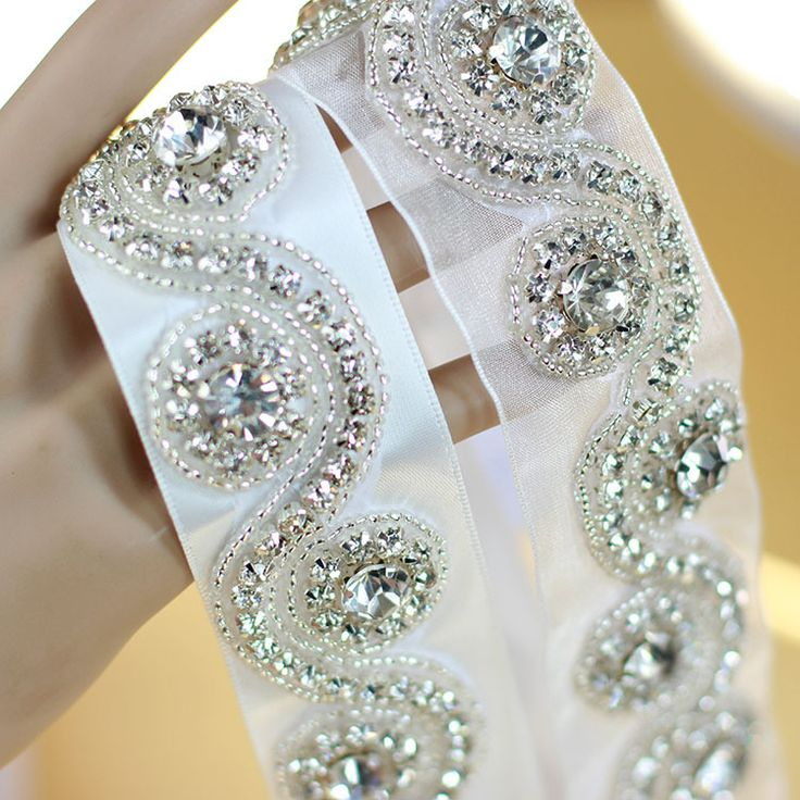 Elegant Satin Organza Beaded Wedding Belts With Crystals Rhinestones Bridal Sashes For Dress 2016