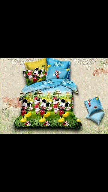 Mickey and minnie dancing Bed Sheet Kids cartoon glace cotton bedsheet