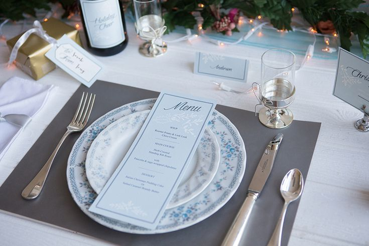 Printable Christmas stationery. Christmas themed menu, place cards, wine labels, gift tags and invitations all available as printables. See the collection available to purchase for only €25 here: http://www.appleberrypress.com/wedding_stationery_1216_