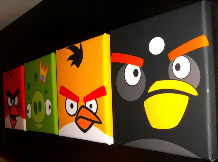 "Angry birds deep edge cotton canvas picture wall art set of 4 10"" square new"