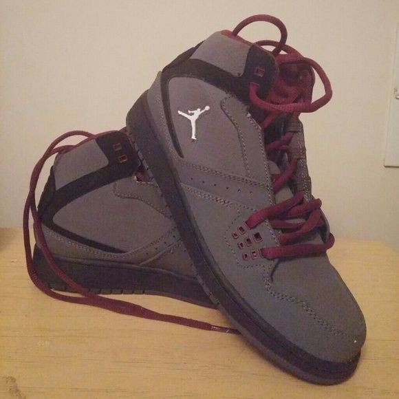 Black and Burgundy Jordans I wore these maybe twice. Very good condition. Size 5.5 Boys (7.5 women) Jordan Shoes Athletic Shoes