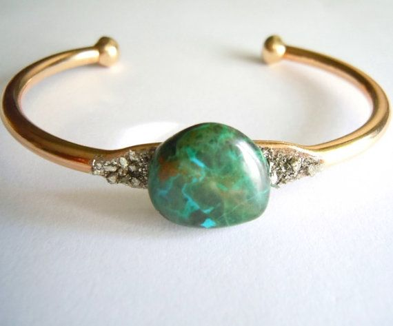 Raw Gemstone Bracelet  Chrysocolla  Gift for her by NaturalGlam #Raw Stone Crystal Mineral Jewelry #Boho