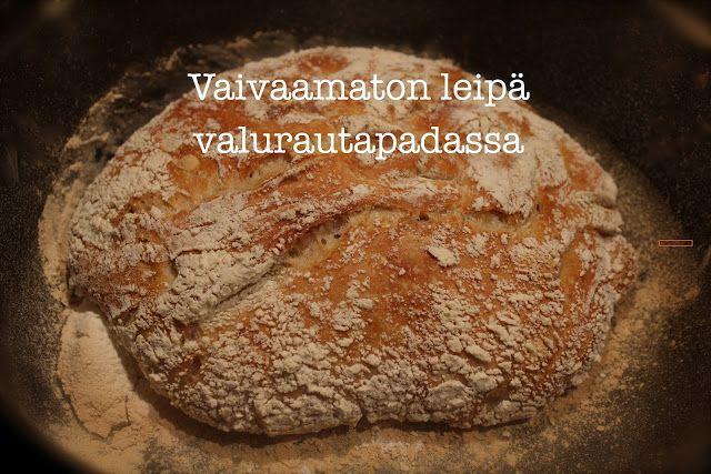 ripaus ja hyppysellinen - kasvisruokablogi : Vaivaamaton leipä valurautapadassa