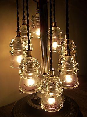 ANTIQUE GLASS ART~Original LINEMAN Telegraph 8-Glass Insulator Table Lamp