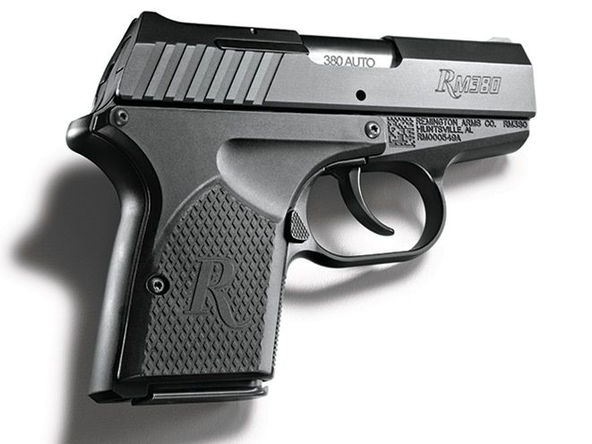 The Remington RM380 chambered in .380 ACP has a 6+1 capacity, is double action only and features tilt-barrel, locked-breech operation.
