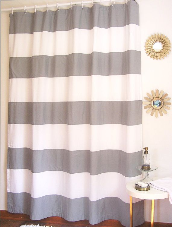 gots certified extra long organic horizontal stripe shower curtain handmade in usa from organic fabric