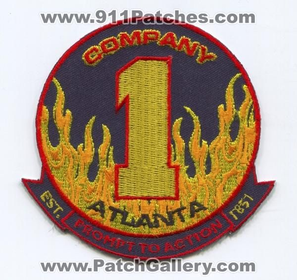 Atlanta Fire Department AFD Company 1 Patch Georgia GA Dept. A.F.D. Co. Number No. #1 Station Patches Prompt to Action - Est. 1851 New Unused Patch Approx 3.75