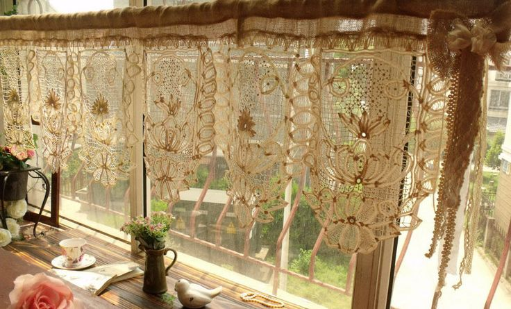 Gorgeous Antique Lace Valance Burlap Bow Curtain Shabby Rustic Chic Cream 50 034 | eBay