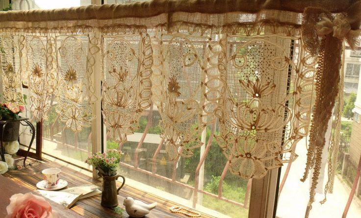 Gorgeous Antique Lace Valance Burlap Bow Curtain Shabby Rustic Chic Cream 50 034 | eBay