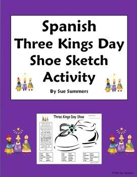three kings day holiday bilingual shoe activity worksheet spanish english. Black Bedroom Furniture Sets. Home Design Ideas