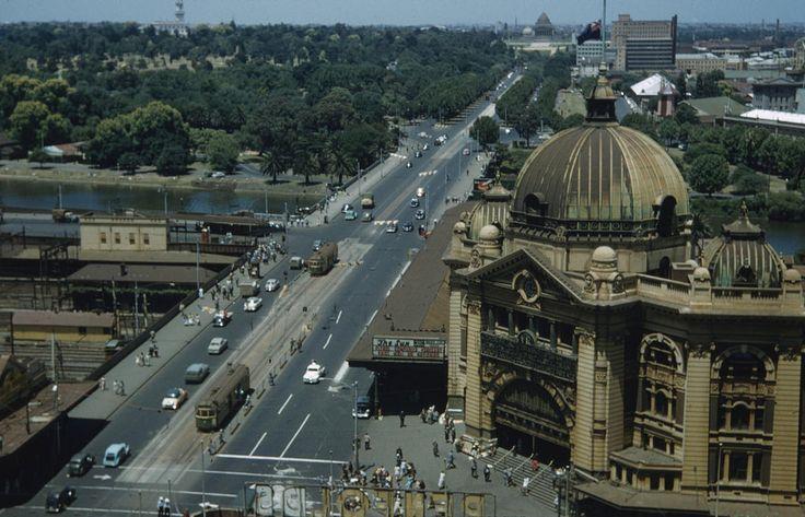 Aerial view of St Kilda Road and Flinders Street Station, Melbourne 1956 - 1962…