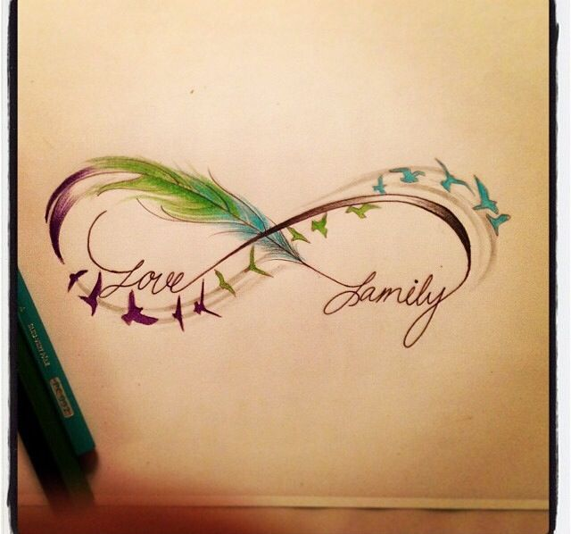 Infinity sign- feathers, birds, love family