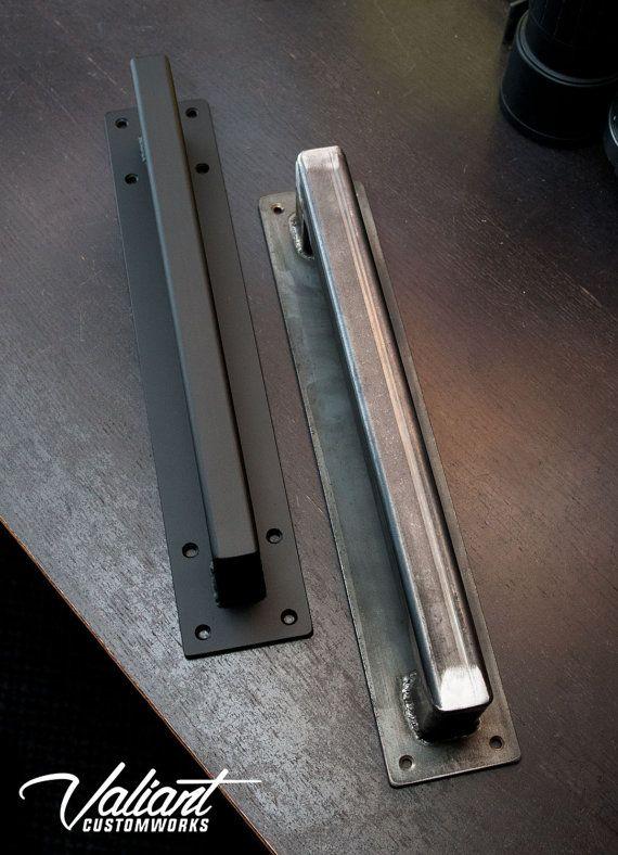1 1/4 square door pull and matching recessed door pull in flat black