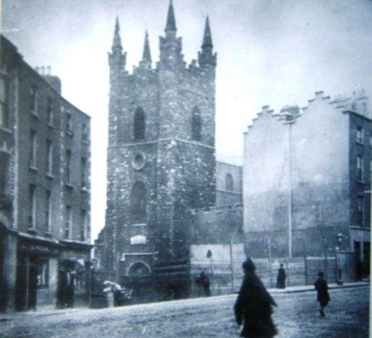 Old photo of St. Audoen's/Cornmarket Dublin. Cornmarket previously called Newgate Street & BlackDog after the prison there. The Liberties Dublin