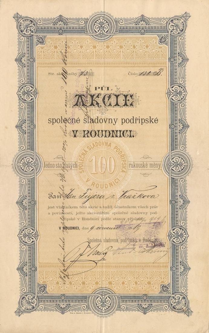 Společná sladovna podřipská v Roudnici (Gemeinschaftliche Mälzerei in Raudnitz). Akcie na 100 Zlatých. Roudnice, 1889.
