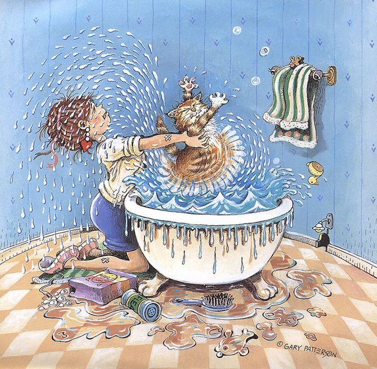 Рисунки ванн смешные, день рождение коллеге