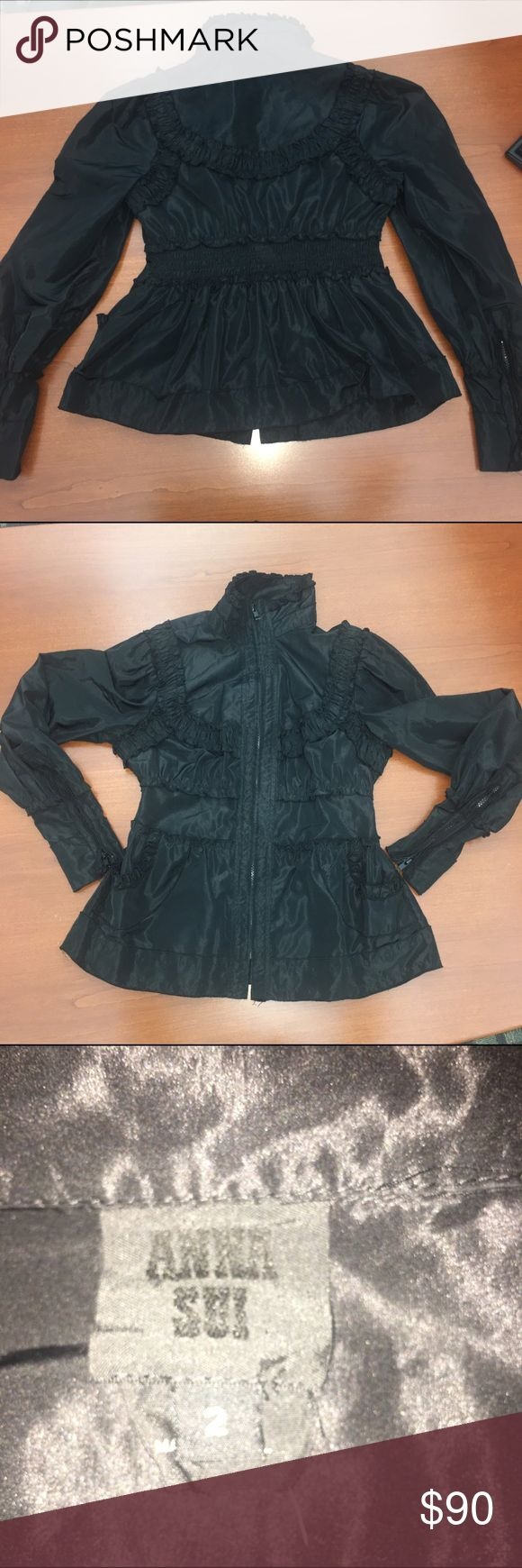 Anna Sui zip high neck jacket Ruffle detail , zips at wrists , cinched at waist , figure flattering. Anna Sui Jackets & Coats