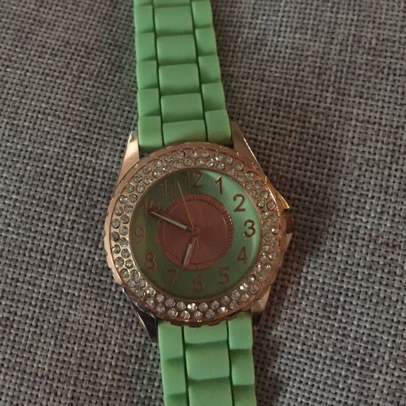 Mint watch Mint watch with gold face and rhinestones. Needs a new battery Accessories Watches