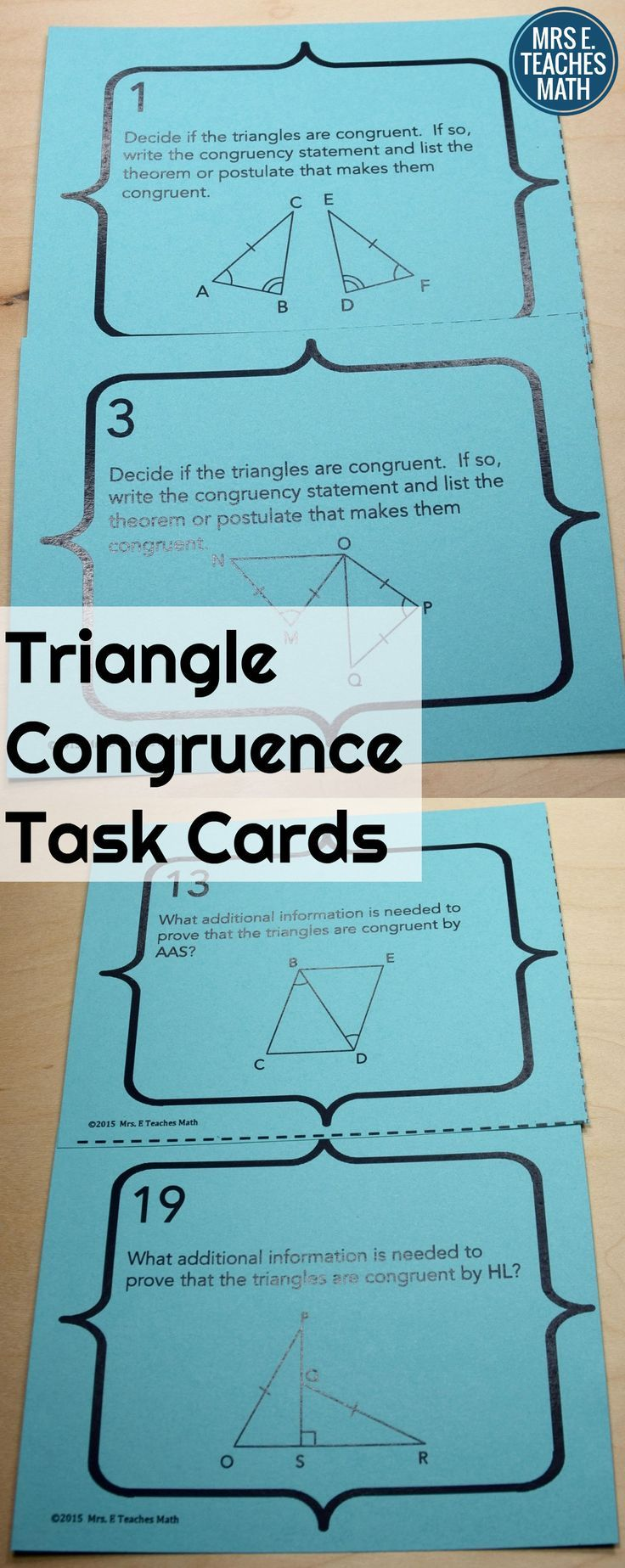 Congruent Triangles Task Cards Teaching geometry