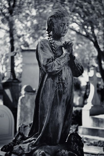 Always in Prayer....Pére Lachaise Cemetery, Paris, France. This Cemetary is where so many famous people are, and the statuary is incredible. It is a major tourist attraction, as a place of great beauty and spiritual connection.