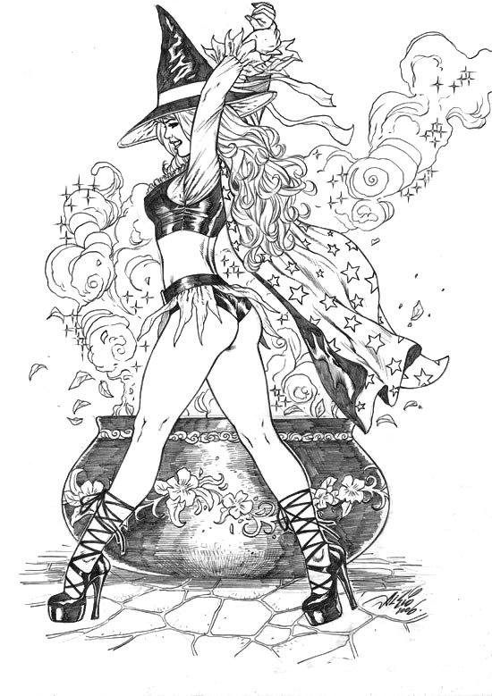 sexy witch adult coloring page - Sexy Coloring Book