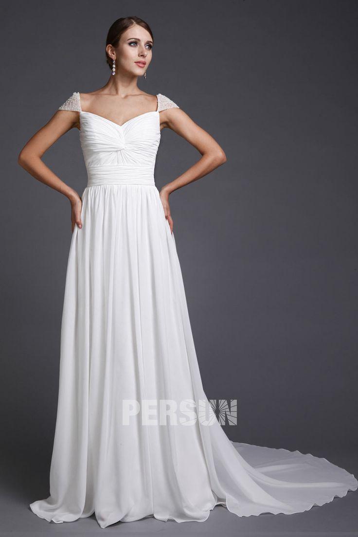 A line Empire Squar Neck Cap Sleeve Ruching Chiffon Train Formal Dress [PPCD2030]- AU$ 174.59 - DressesMallAU.com