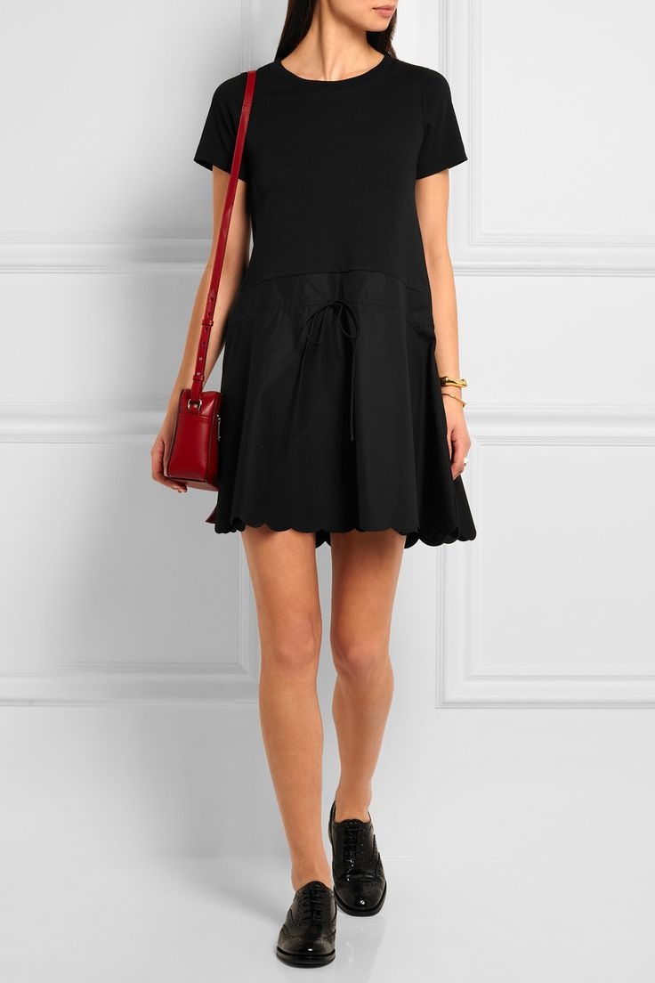 See by Chloé | Scalloped cotton-jersey and twill mini dress | NET-A-PORTER.COM