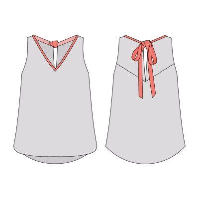 [Patrons indépendants] Les nouveautés de juin - Le blog thread  Chez Blousette Rose, un petit Mélilot, c'est une blouse d'été ample avec un col en V, le dos est fendu et noué par un ruban