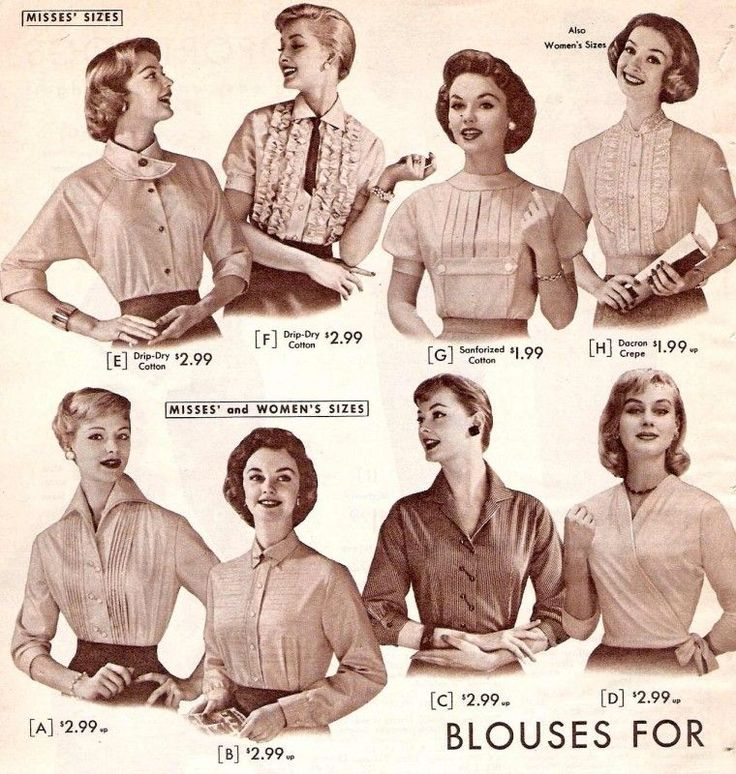 A variety of blouses and tops from 1957.